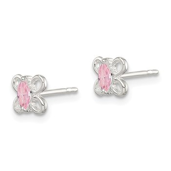 Sterling Silver Pink CZ Butterfly Kid's Post Earrings