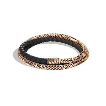 Classic Chain 5MM Triple Wrap Bracelet in Bronze with Leather