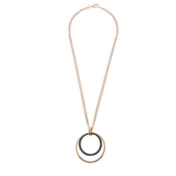 Large Circle Wave Polvere Di Sogni Pendant - Dark Brown Polvere & Rose Gold
