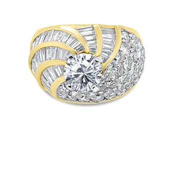 18K Chunky Baguette Diamond Retro Engagement Ring