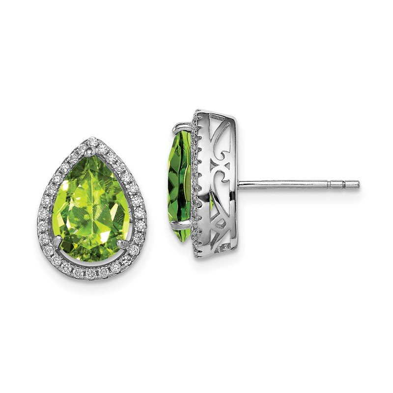 Quality Gold Sterling Silver Rhodium Polished Simulated Peridot & CZ Post Earrings