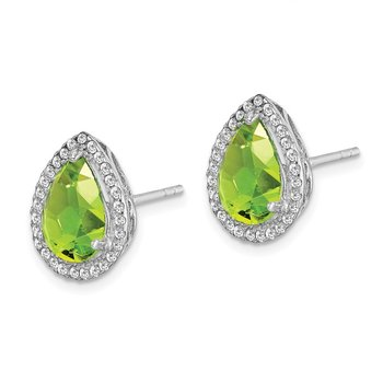 Sterling Silver Rhodium Polished Simulated Peridot & CZ Post Earrings