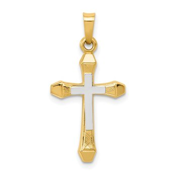 14ky w/ Rhodium Hollow Cross Pendant