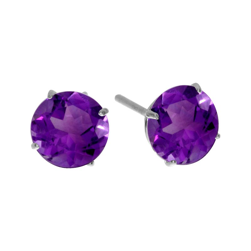 Color Merchants 6mm Round 14k White Gold Amethyst Stud Earrings