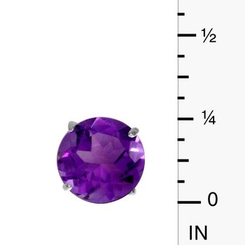 6mm Round 14k White Gold Amethyst Stud Earrings
