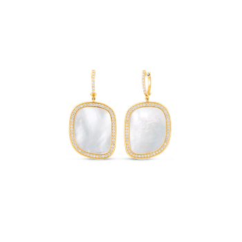 18Kt Gold Drop Earrings With Diamonds And Mother Of Pearl