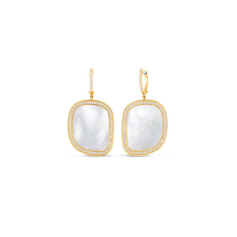 Roberto Coin 18Kt Gold Drop Earrings With Diamonds And Mother Of Pearl