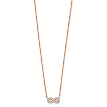 Sterling Silver Rose-tone CZ Infinity Necklace