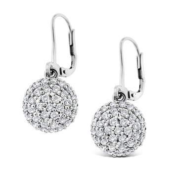 Diamond Circle Drop Earrings in 14k White Gold with 72 Diamonds weighing 1.07ct tw.