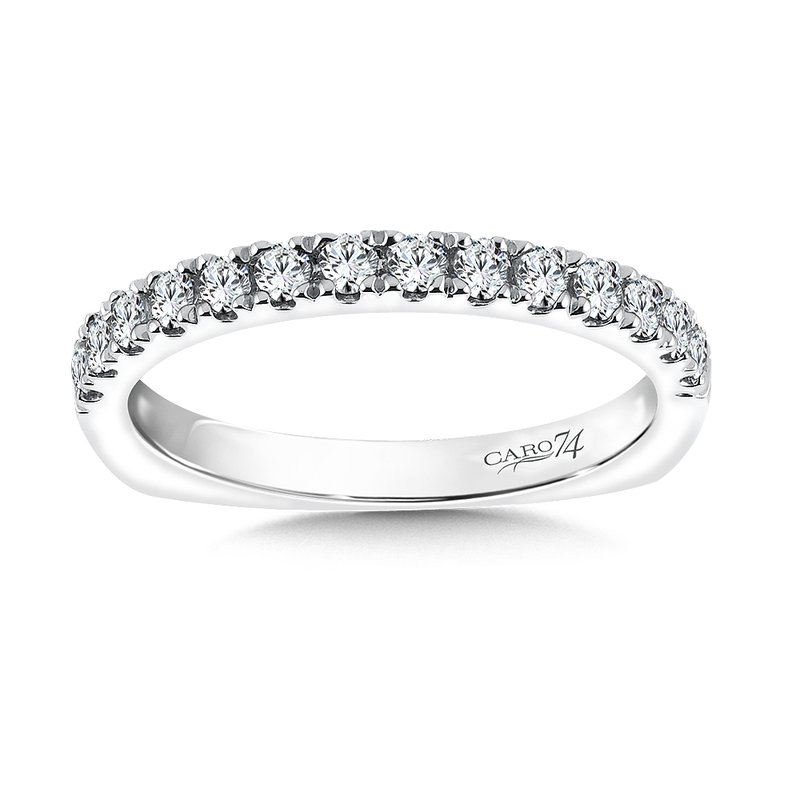 Caro74 Diamond Wedding Band in 14K White Gold