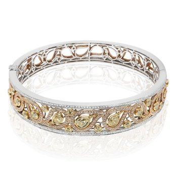 Tri-Color Diamond Bangle