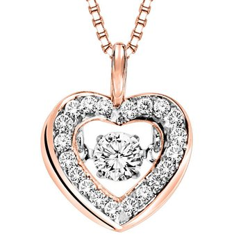 14KP Diamond Rhythm Of Love Pendant 1/3 ctw