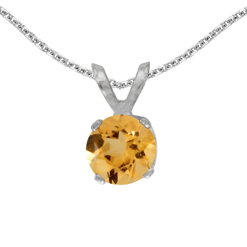 Color Merchants 14k White Gold Round Citrine Pendant