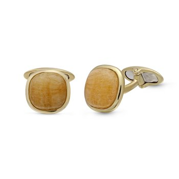 LuvMyJewelry Yellow Lace Agate Stone Cufflinks in Sterling Silver & 14 KT Yellow Gold Plating