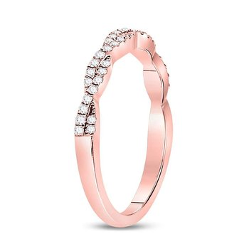 10kt Rose Gold Womens Round Diamond Woven Twist Stackable Band Ring 1/4 Cttw
