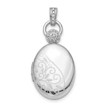 Sterling Silver Rhodium-plate 18mm Oval Diamond Accent Satin Locket