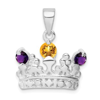 Sterling Silver Citrine & Amethyst Polished Crown Pendant