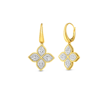 18K Gold & Diamond Medium Flower Drop Earring