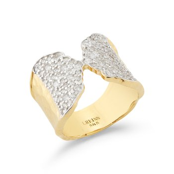 14KY PAVE CUFF RING .90CT