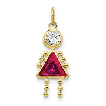 10k July Girl Birthstone Charm