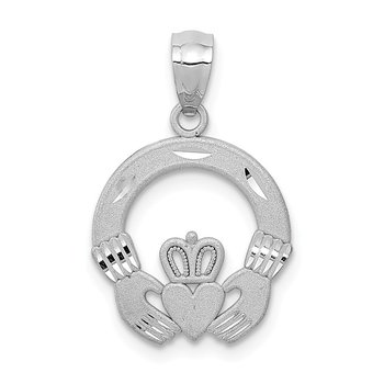 14k White Gold Solid D/C Claddagh Pendant