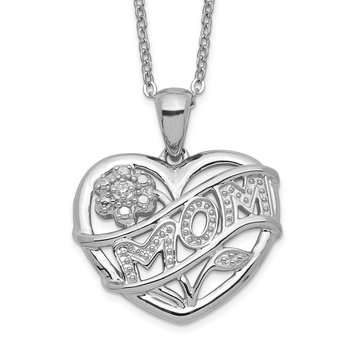 Sterling Silver Rhodium-plated MOM Necklace
