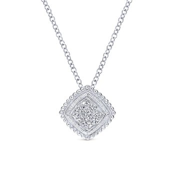 925 Sterling Silver Cushion Diamond Cluster Pendant Necklace