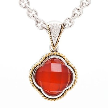 18kt and Sterling Silver Red Agate Clover Diamond Pendant with Chain