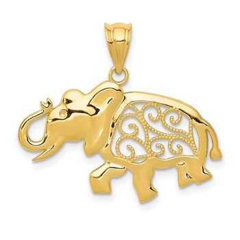 14k Filigree Elephant Pendant