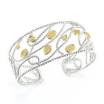 Sterling Silver and 14K Yellow Gold Yellow Sapphire Bangle