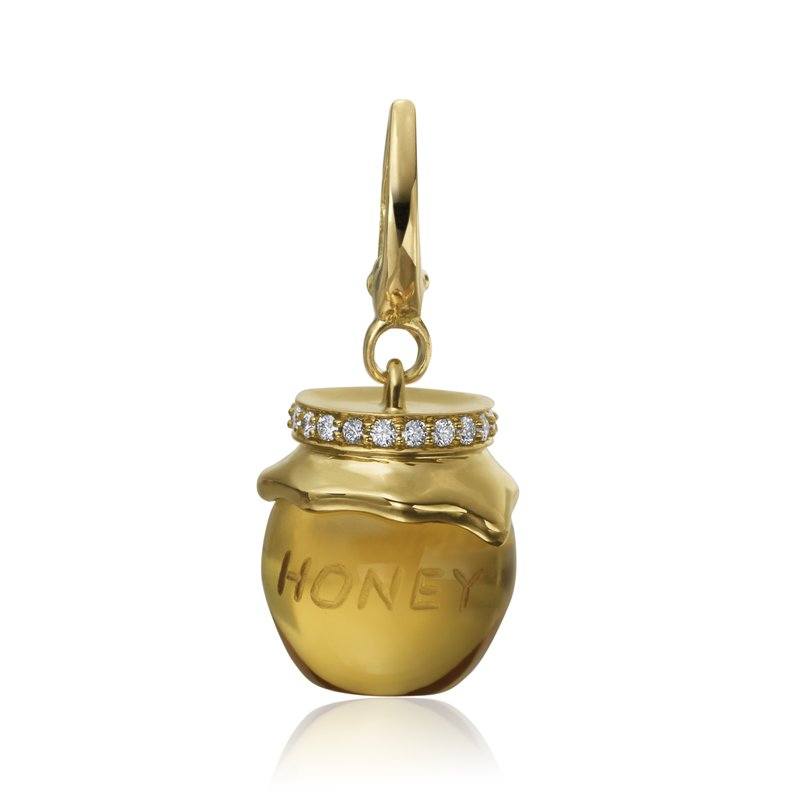 "Gumuchian Honeybee ""B"" Diamond & Citrine Honey Pot Charm CH313DY"