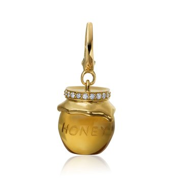 "Honeybee ""B"" Diamond & Citrine Honey Pot Charm CH313DY"
