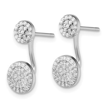 Sterling Silver Rhodium-plated CZ Front and Back Earrings