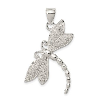 Sterling Silver Polished & Textured Dragonfly Pendant
