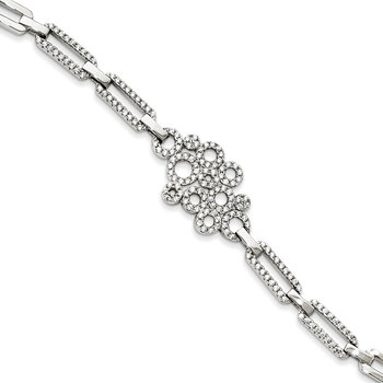 Sterling Silver Brilliant Embers Rhodium-plated CZ Bracelet