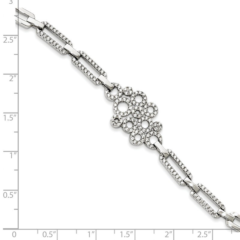 Quality Gold Sterling Silver Brilliant Embers Rhodium-plated CZ Bracelet