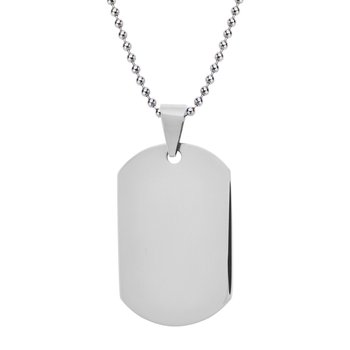 Polished Finish Dog Tag Engravable Pendant