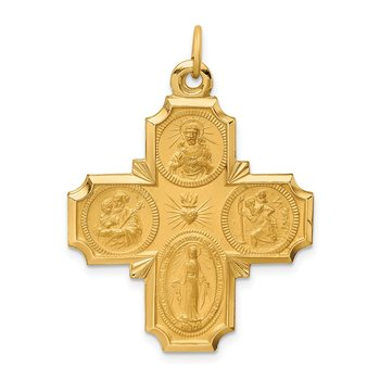14k Solid Polished/Satin Large 4-Way Medal