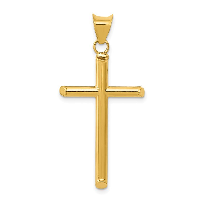 Quality Gold 14k 3-D Polished Hollow Cross Pendant