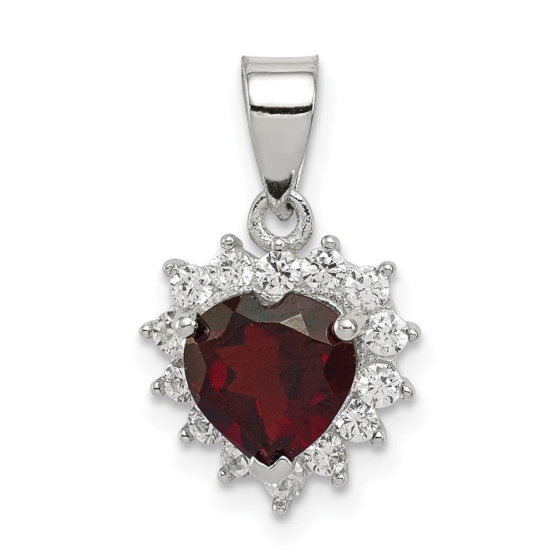 Quality Gold Sterling Silver Garnet & CZ Pendant