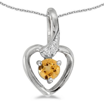 14k White Gold Round Citrine And Diamond Heart Pendant