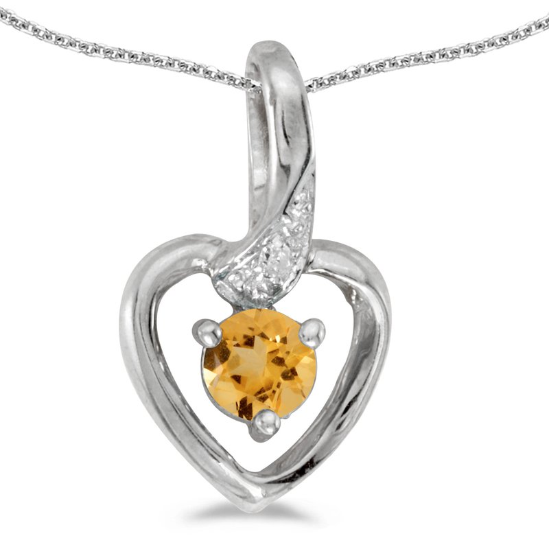 Color Merchants 14k White Gold Round Citrine And Diamond Heart Pendant