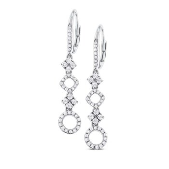 Diamond Geometric Earrings in 14K White Gold with 82 Diamonds Weighing .47 ct tw