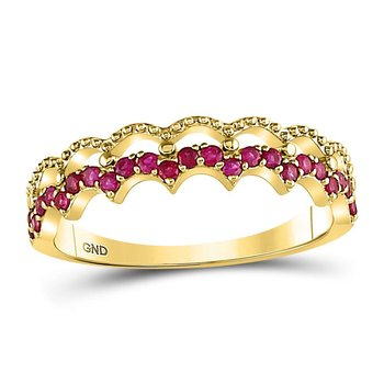 10kt Yellow Gold Womens Round Ruby Scalloped Stackable Band Ring 1/4 Cttw