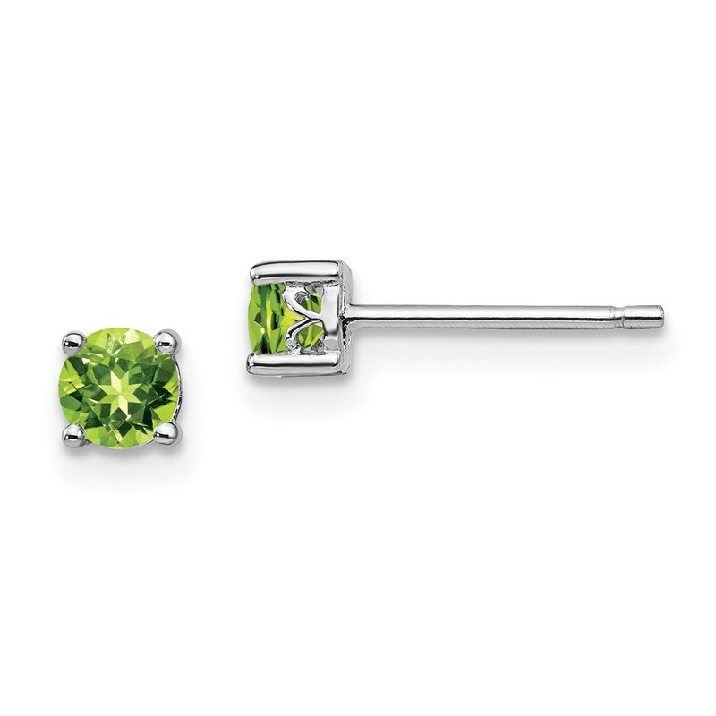Quality Gold Sterling Silver Rhodium-plated 4mm Round Peridot Post Earrings