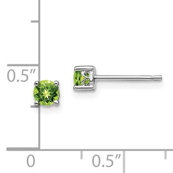 Sterling Silver Rhodium-plated 4mm Round Peridot Post Earrings