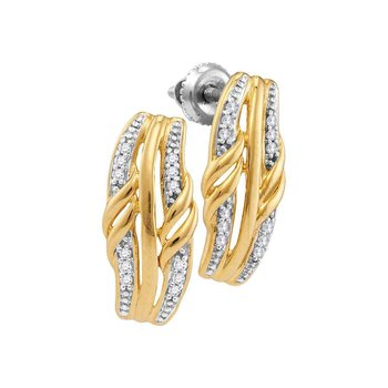 10kt Yellow Gold Womens Round Diamond Vertical Stud Earrings 1/12 Cttw