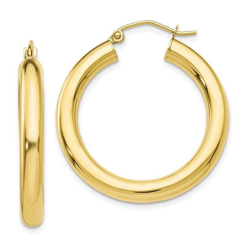 Quality Gold 10K Polished 4mm Tube Hoop Earrings