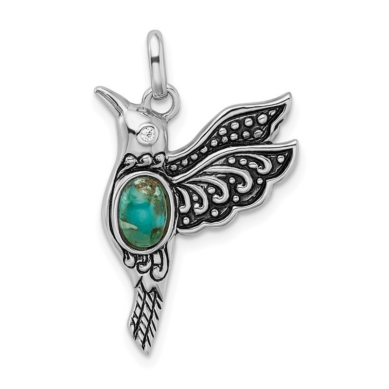 Quality Gold Sterling Silver Rhodium/Oxidized Recon. Turq/CZ Hummingbird Pendant