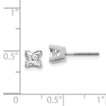 14k White Gold AAA Quality Complete Princess Cut Diamond Earring